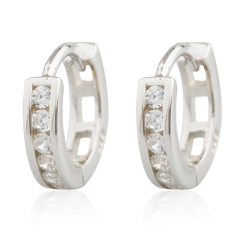 High Quality Diamond Earring 925 Sterling Silver Hollow Hoop Jusnova Silver AE10040