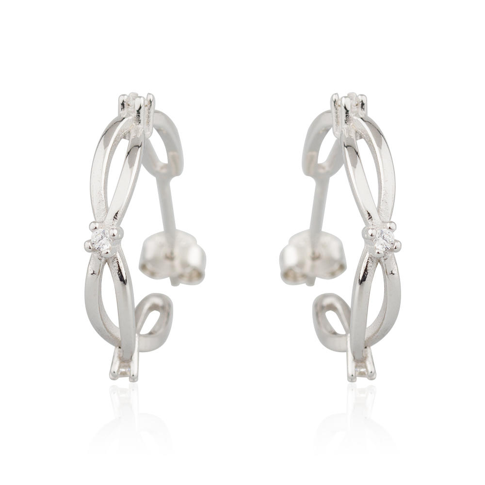 Small Earring Stud 925 Sterling Silver Classic Bow Jusnova Silver AE10041