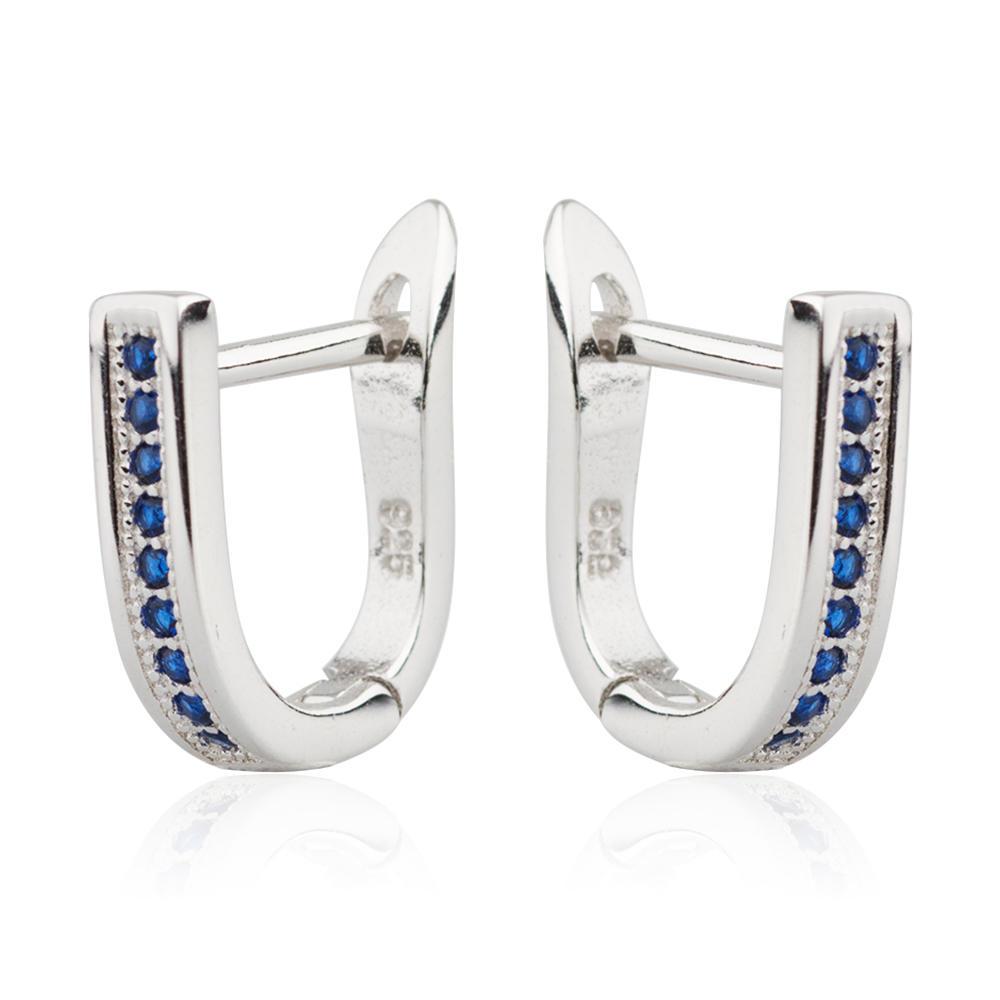 Row Earring 925 Sterling Silver Blue Zircon Jusnova Silver AE10042