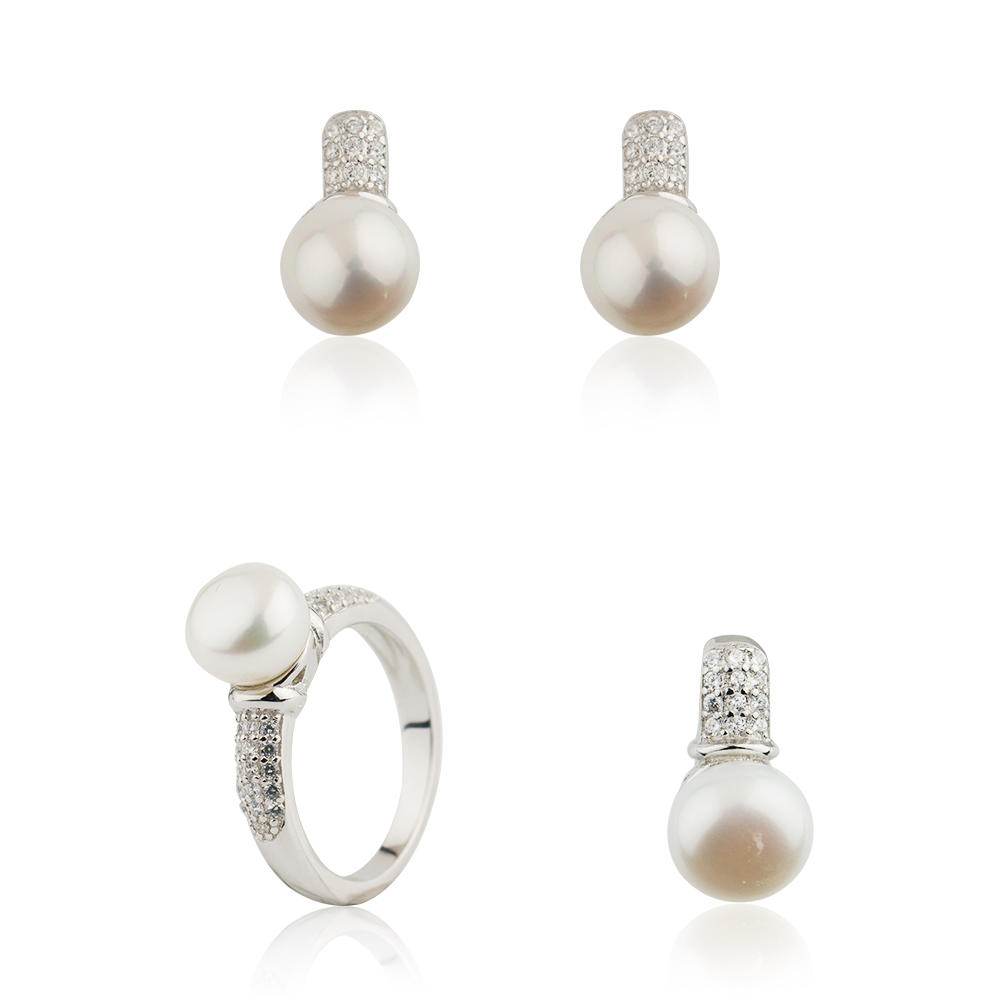 Women Ring Set 925 Sterling Silver Pearl White Zircon Jusnova Silver AS30336