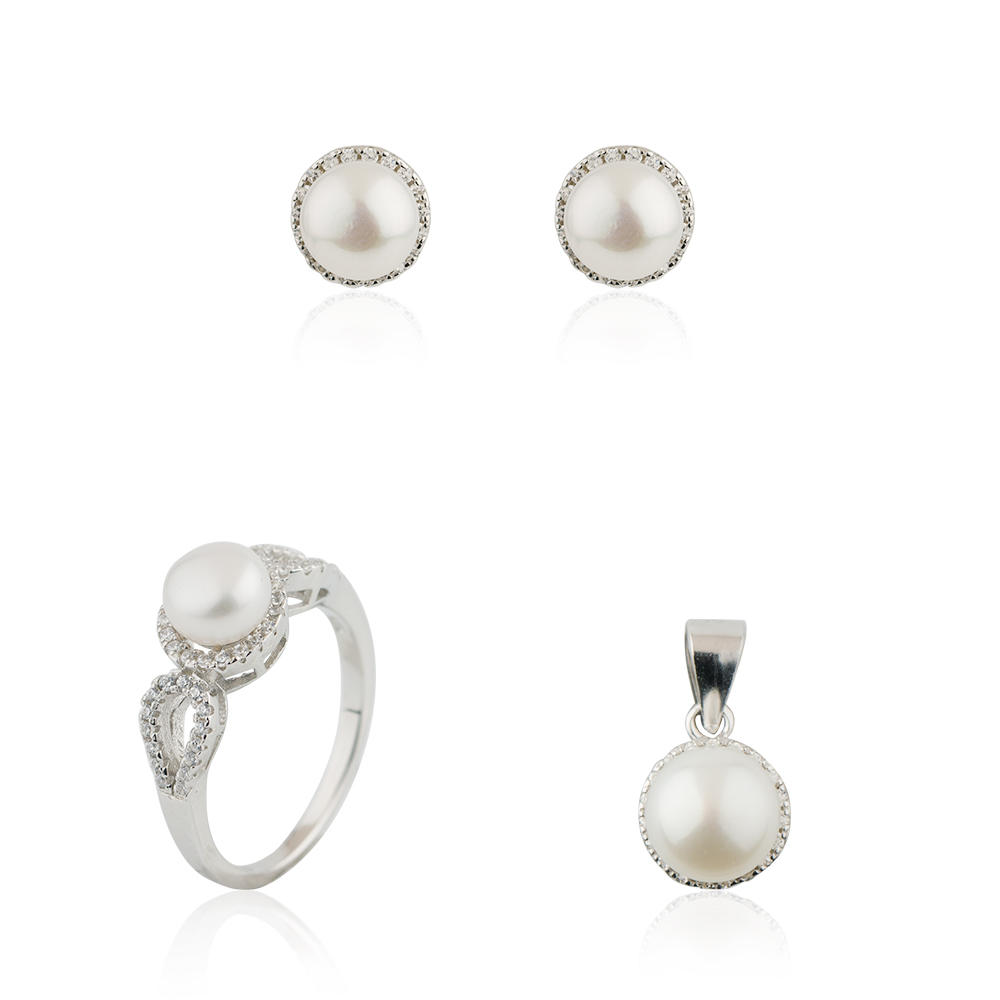 Love Pearl Gift Set 925 Sterling Silver Bride Wedding Jusnova Silver AS30340