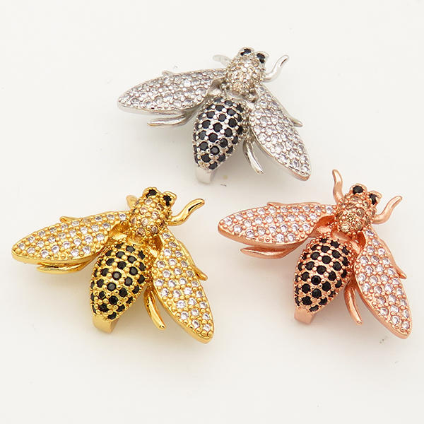 Handmade Jewelry Accessory Brass Bee Charm Jewelry Connector Components Pendant XFB00009vbmb-L002