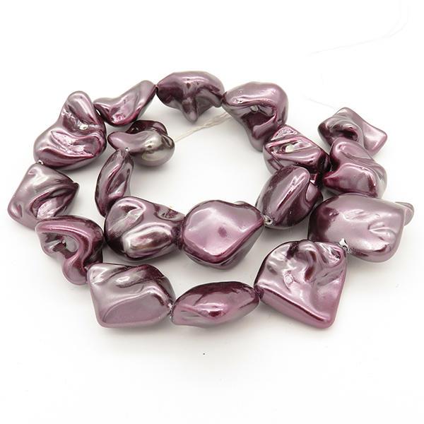 Powellbeads Wholesale Imitation Pearl Beads With Half Hole, Pendant Bead Faux Shell Pearls XBSP00025bhva-L001