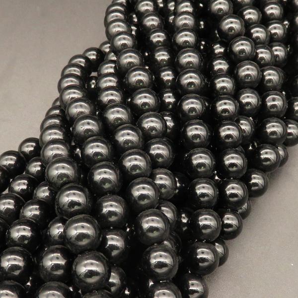 Powellbeads Top Quality Fancy Round Black Glass Beads For Jewelry Making DIY Bracelets
