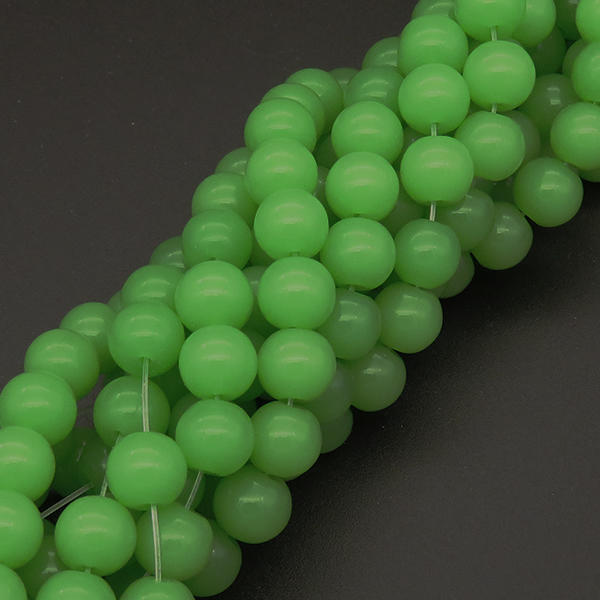 Powellbeads Green Matte Candy Color Glass Beads Strand Beads For Necklace XBG00464vaia-L004