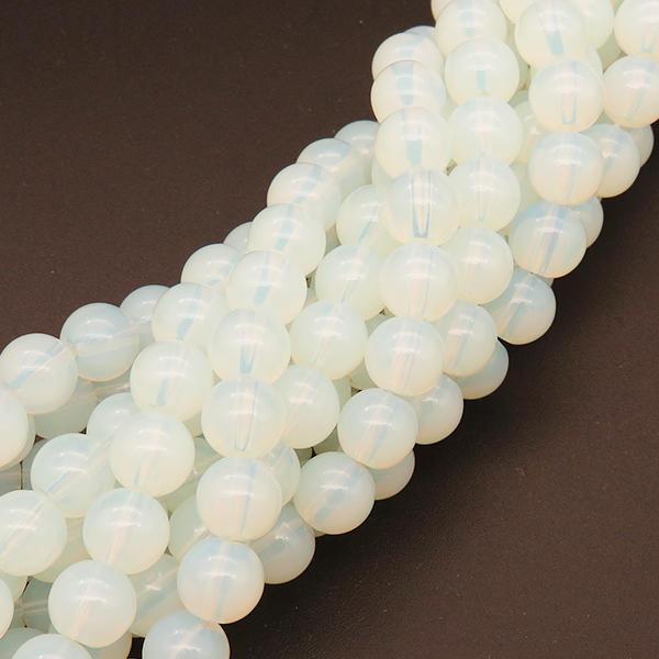 Powellbeads Frosted Stone White Mermaid Glass Bracelet Stretch Bracelet Beads XBG00470vaia-L004