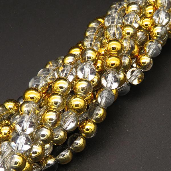 Powellbeads 2019 Round Shape Electroplate Half Gold Transparent Glass Beads XBG00479avja-L004