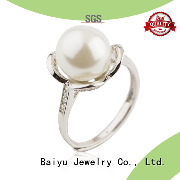 Baiyu Jewelry zircon unique sterling silver rings opel for birthday