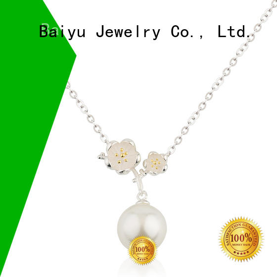 Baiyu Jewelry green 925 silver necklace ferrule for mother