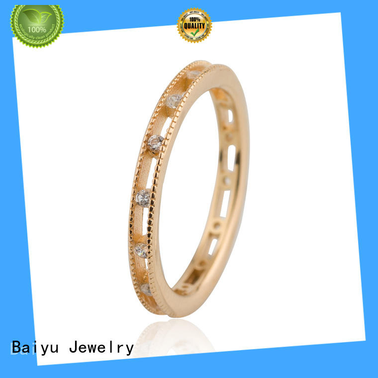Baiyu Jewelry plain sterling silver rings opal for gift