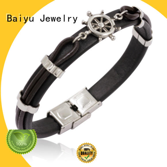 exporting leather cuff bangle high quality for girls Baiyu Jewelry