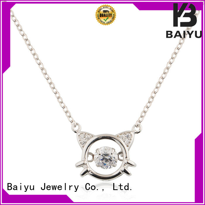 cute cat silver necklace for women European style for girl