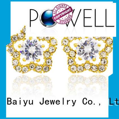 steel stud earrings gold design Baiyu Jewelry Brand