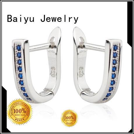 heart shape ladies silver earrings multi-color for lady Baiyu Jewelry