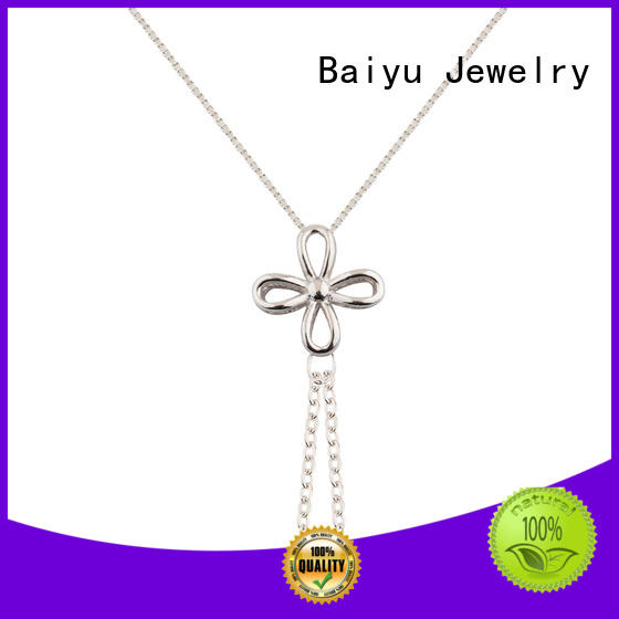 Baiyu Jewelry oem silver chain necklace womens black stone for girl