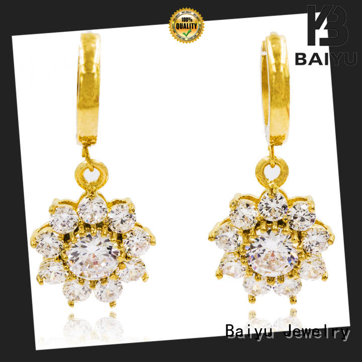Baiyu Jewelry rhinestone dangle earrings plated for gifts