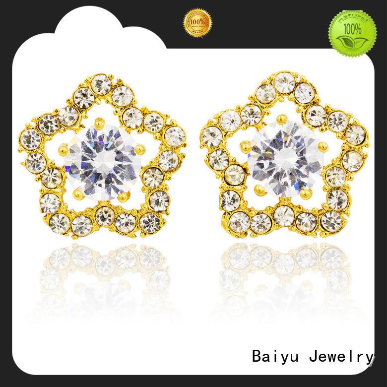 special mens stud earrings black stainless steel ferrule for lady Baiyu Jewelry