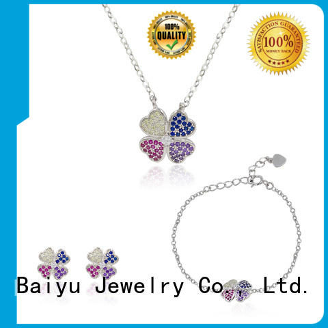Baiyu Jewelry pattern sterling silver set personalized color for girls