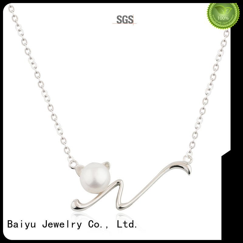Baiyu Jewelry green simple silver necklace rhinestone for lady