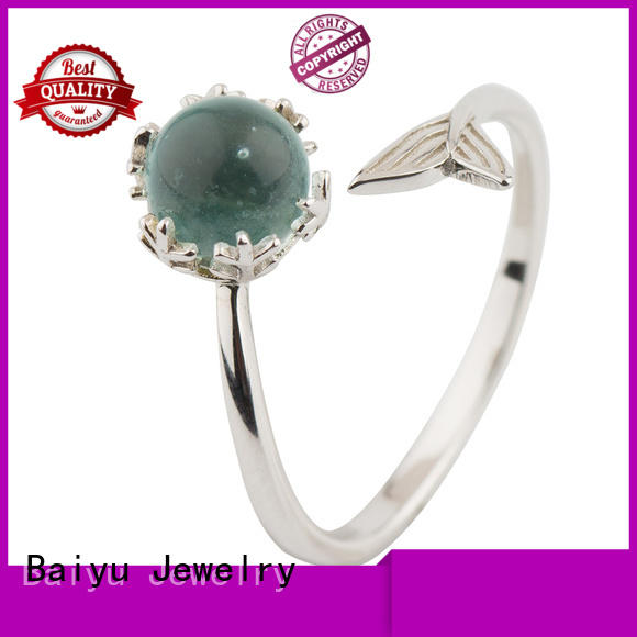s925 ring crystal for ladies Baiyu Jewelry