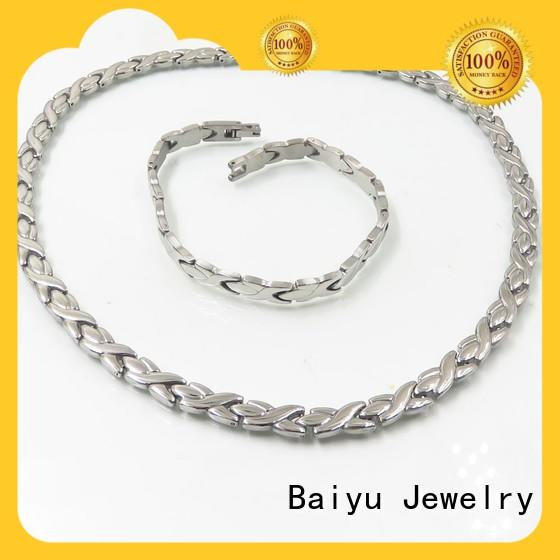 silver necklace and bracelet set for women Baiyu Jewelry