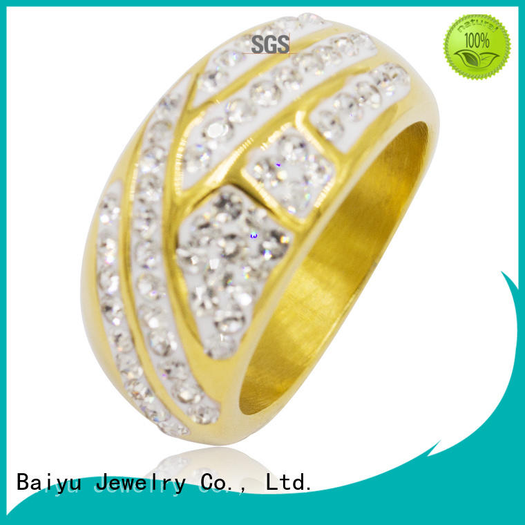 Baiyu Jewelry unique shaped stainless steel rings for ladies bling for bridal