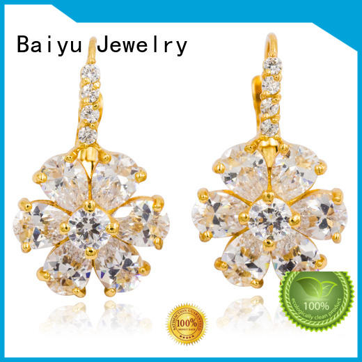 Baiyu Jewelry dangle drop earrings with stone for bridal