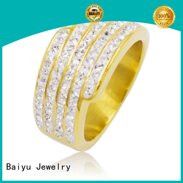 Baiyu Jewelry modern women's stainless steel ring with crystal for ladies