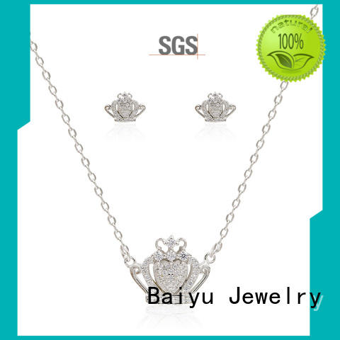 Baiyu Jewelry pattern silver jewellery set personalized color for girls