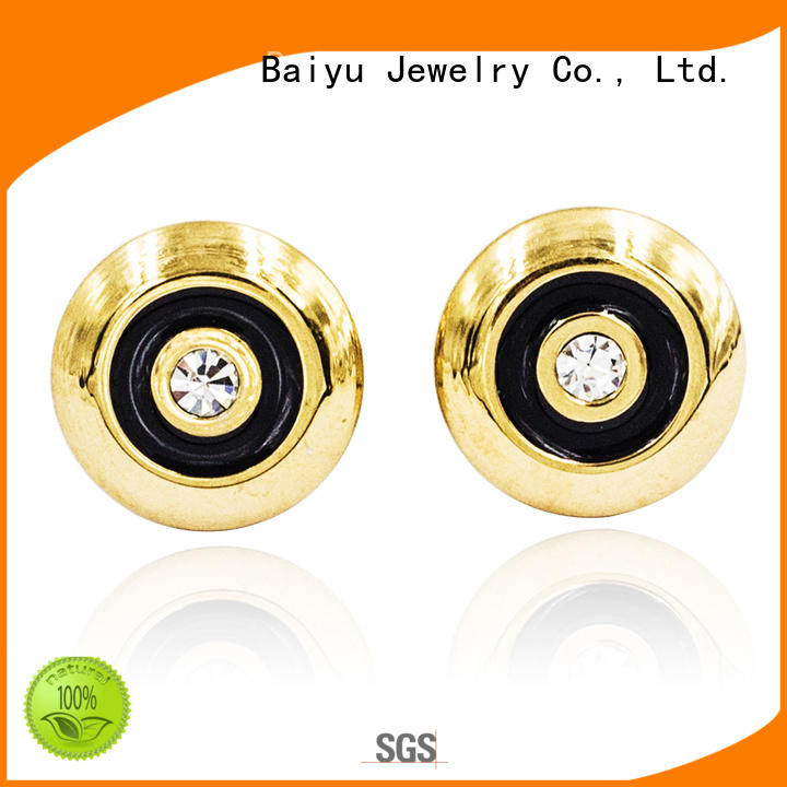 Baiyu Jewelry fashion mens stud earrings black stainless steel characters bead for lady