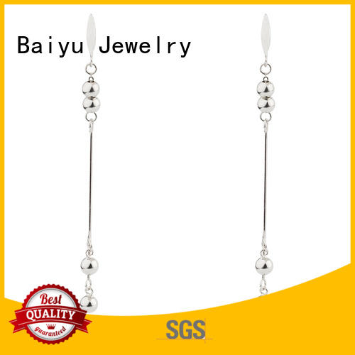 Double Chain Earring 925 Sterling Silver Bead Jusnova Silver AE40163