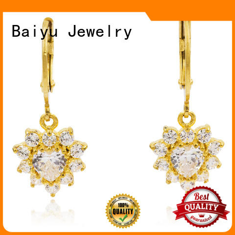Baiyu Jewelry dangle earrings with flower with diamond