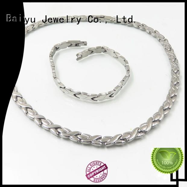 Baiyu Jewelry plain design necklace bracelet set cute for birthday