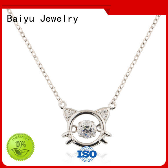 Baiyu Jewelry real pear silver chain necklace womens black stone for female