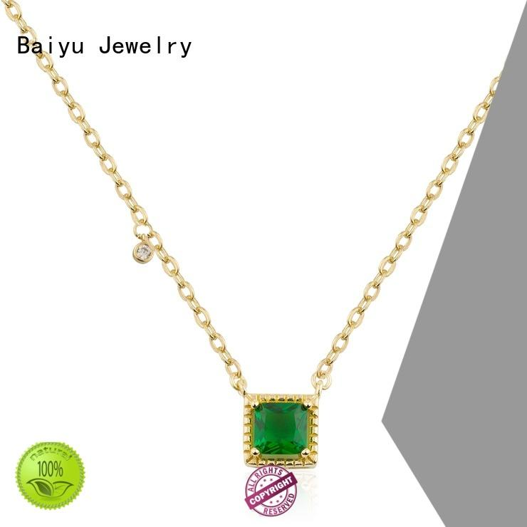 Baiyu Jewelry odm small silver necklace charms inside for female