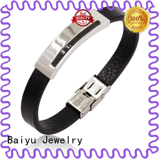 leather bangle bracelets buckles for gift Baiyu Jewelry