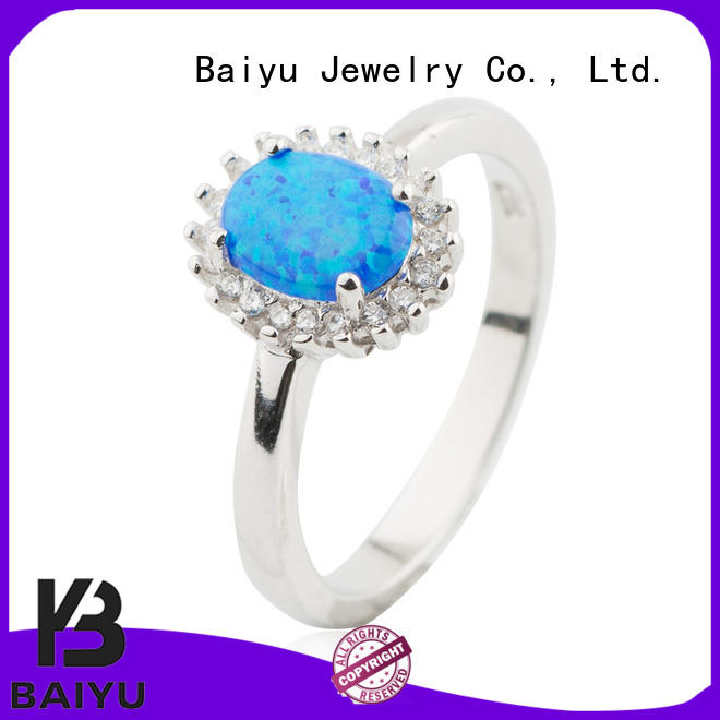 Oval Big Opal Rings With CZ 925 Sterling Silver Wholesale Models Jusnova Silver AR60217