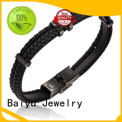 Baiyu Jewelry mens leather bangle white for gift