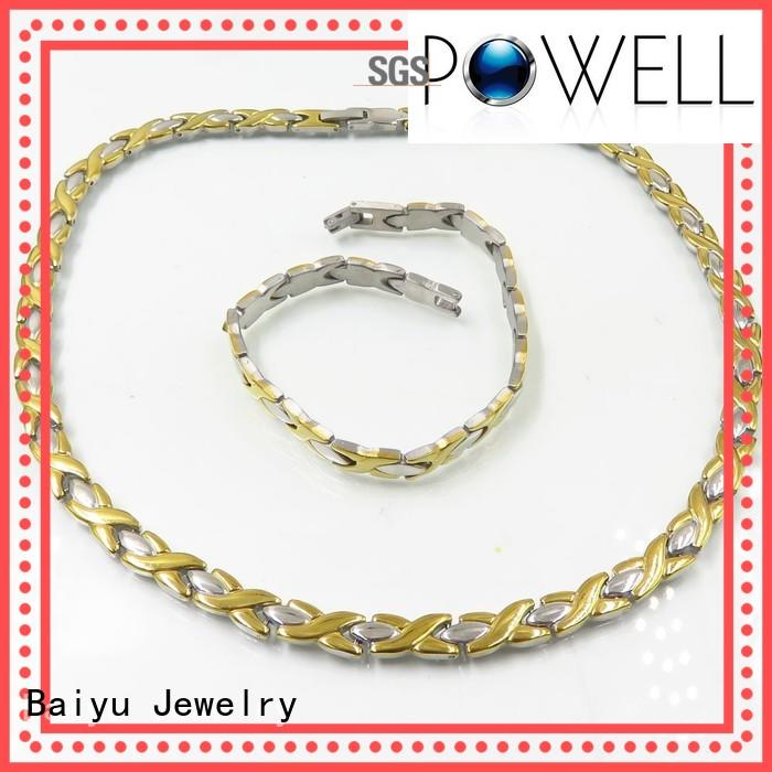 stainless steel necklace and bracelet set color stainless steel jewelry set Baiyu Jewelry Brand