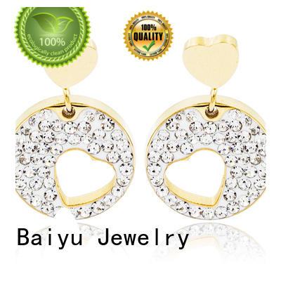 Baiyu Jewelry lucky modern dangle earrings double circle for gifts
