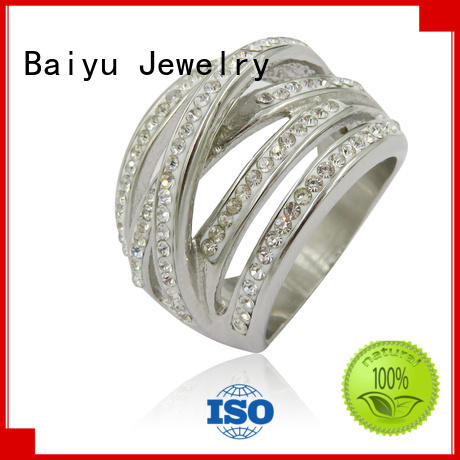 bling women's stainless steel ring in any shape for bridal Baiyu Jewelry
