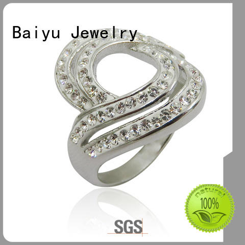 Baiyu Jewelry unique shaped steel rings for women with stone use for wedding
