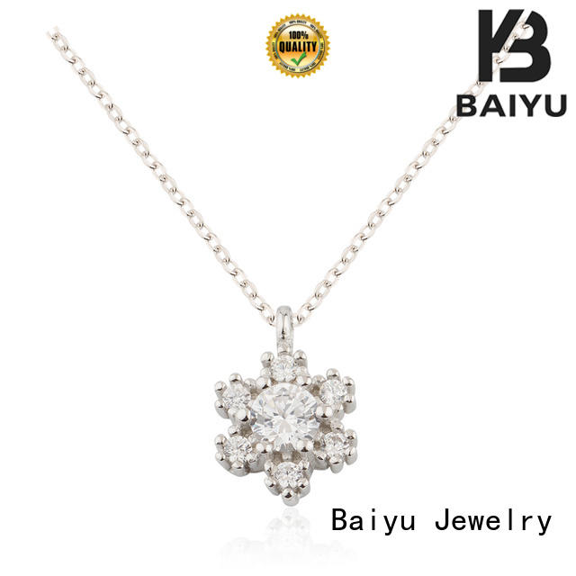 Baiyu Jewelry cute cat silver necklace for women flower for girlfriend