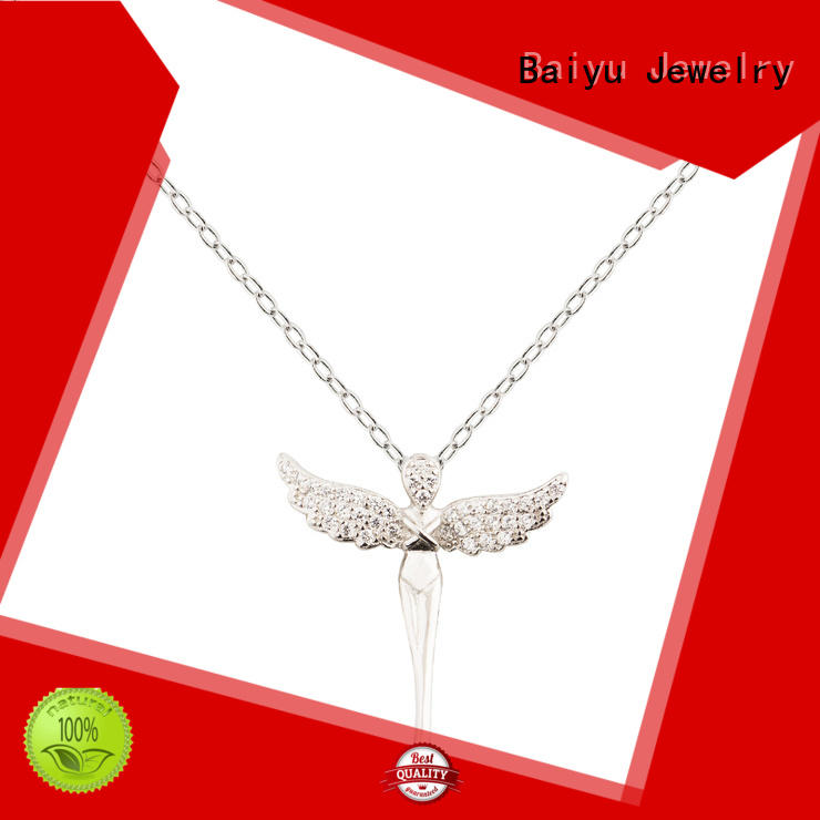 Wing And Cross Charm Crystal 925 Sterling Silver Pendant Necklace Jusnova Silver AN10187