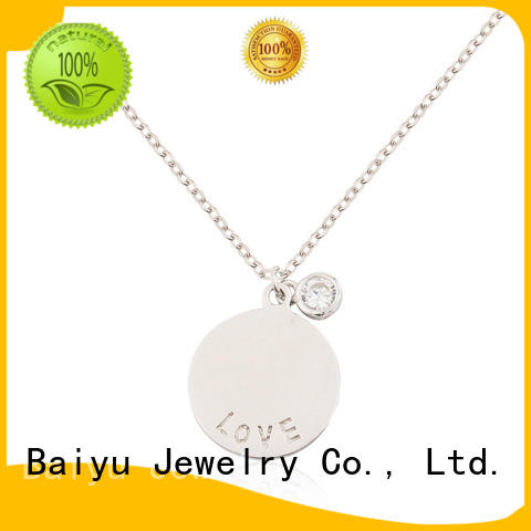 Baiyu Jewelry green silver chain necklace womens characters bead