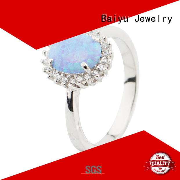 12MM CZ Stone Opal Rings 925 Sterling Silver Wholesale Designs Jusnova Silver AR60218