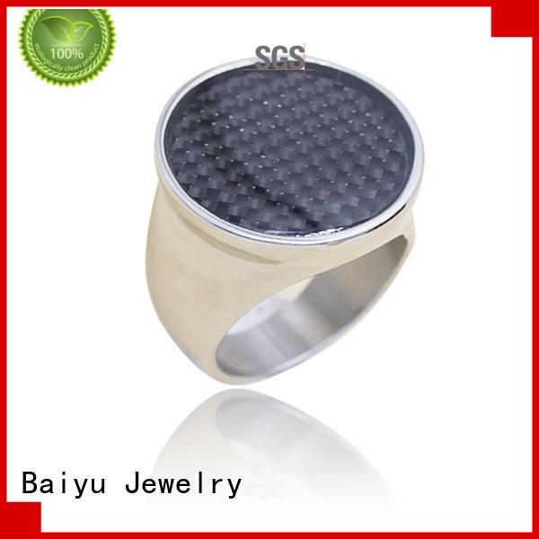 Baiyu Jewelry 18 karat stainless steel rings for him free sample for women