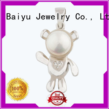 Baiyu Jewelry cherry shape sterling silver pendants simple clover for friend