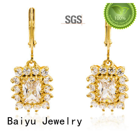 lucky dangle drop earrings with stone with diamond