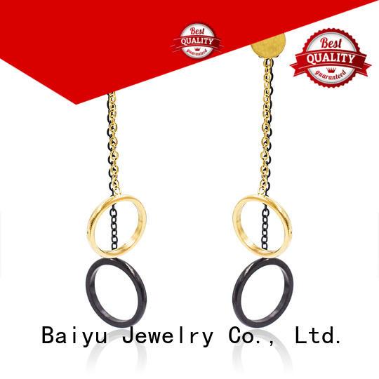 double circle beautiful dangle earrings double circle use for engagement Baiyu Jewelry